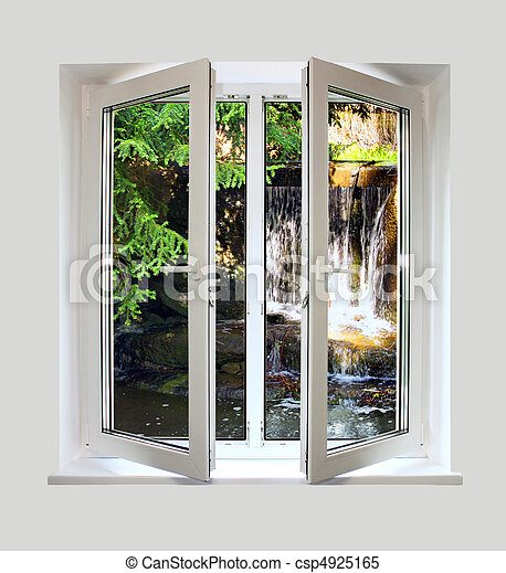 open plastic window with a kind on waterfall - csp4925165
