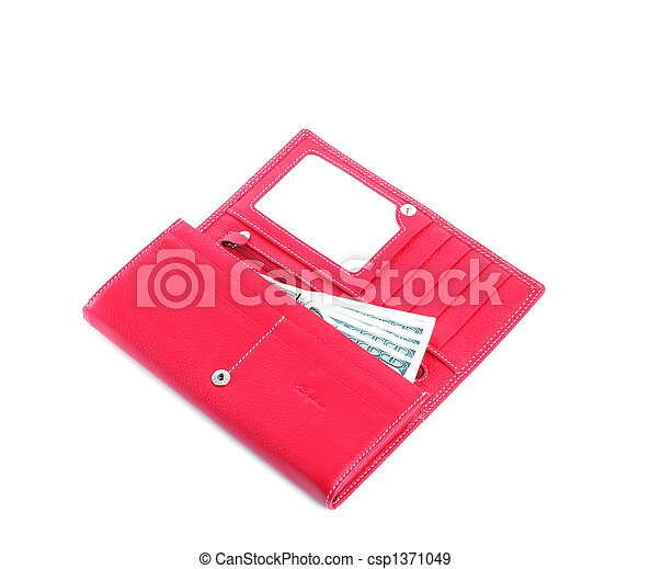 open purse feminine red with money 3 - csp1371049