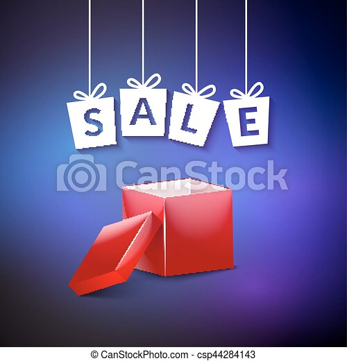 Open Red Gift Box Vector Sale Background For Holiday Discount