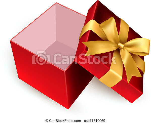 open present clipart. open red gift box with golden ribbo csp11710069 present clipart