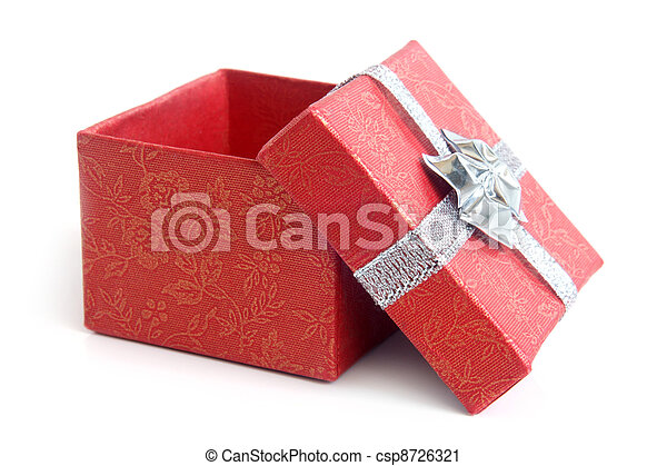 Open red gift box with silver ribbon - csp8726321