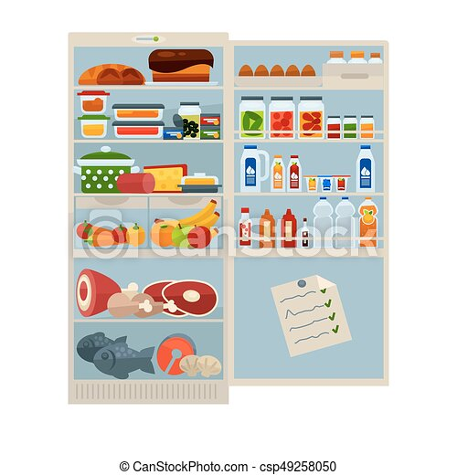 open refrigerator clipart. open refrigerator full of delicious food and cool drinks - csp49258050 clipart