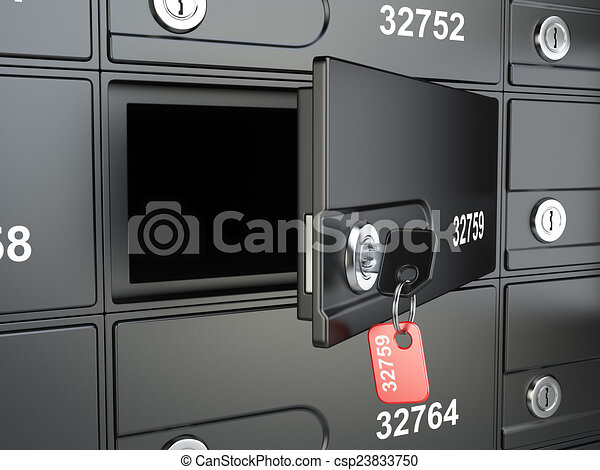 Open safe bank cell and key to the safe - csp23833750