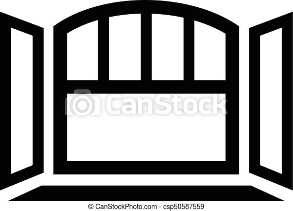 Open semicircular window frame icon, simple black style. Open ...