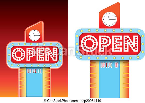 open sign for roadside retro vintage diner style advertising - csp20064140