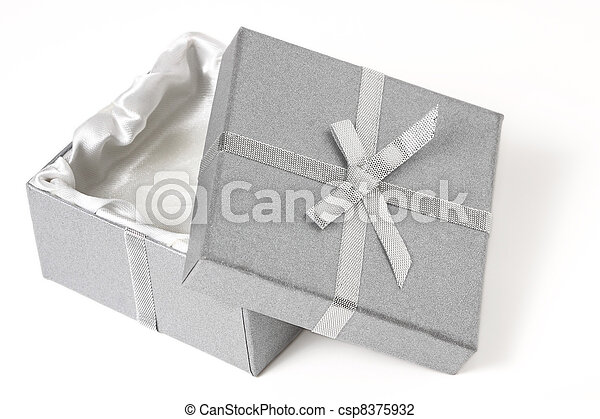 open silver box with top leaning against the bottom - csp8375932