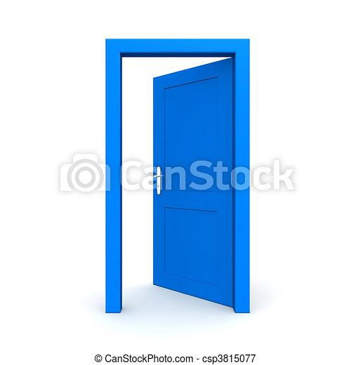 open single blue door single blue door open door frame stock rh canstockphoto com open door slowly clipart open and closed door clipart