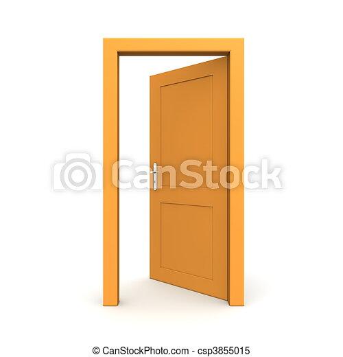 Open Single Orange Door - csp3855015