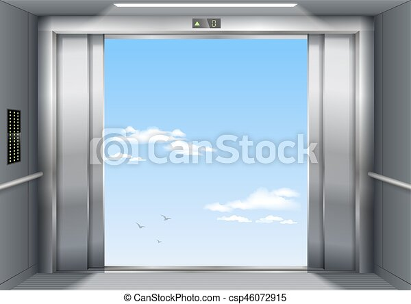 Open the elevator doors - csp46072915 & Open the elevator doors. Open to sky door of the freight elevator ...