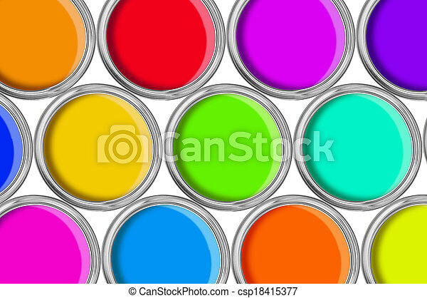 open tin cans with paint, colorful background - csp18415377