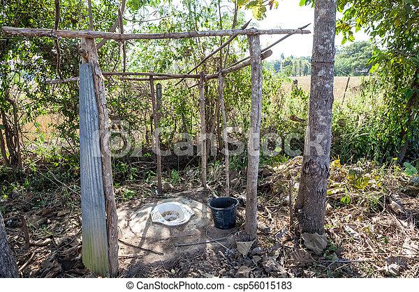 open toilet in the field - csp56015183