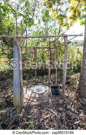 open toilet in the field - csp56015184
