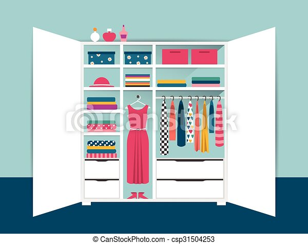 Open Wardrobe White Closet With Tidy Clothes Shirts Sweaters Boxes And Shoes