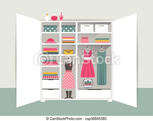 Open Wardrobe White Closet With Tidy Clothes Shirts Sweaters Boxes And Shoes Home Interior Vector