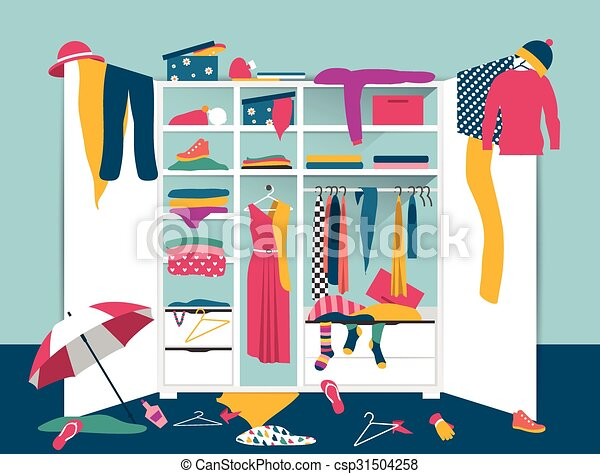 Open wardrobe. White closet with untidy clothes, shirts, sweaters, boxes and shoes. Home mess interior. Flat design  - csp31504258