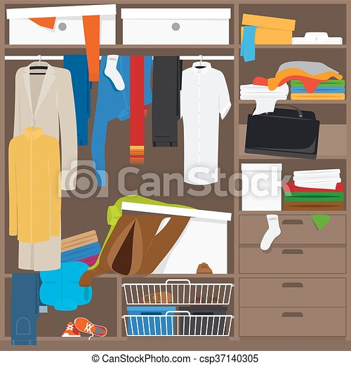 Wardrobe clipart  Open wardrobe with mess clothes. household mess vector... vector ...
