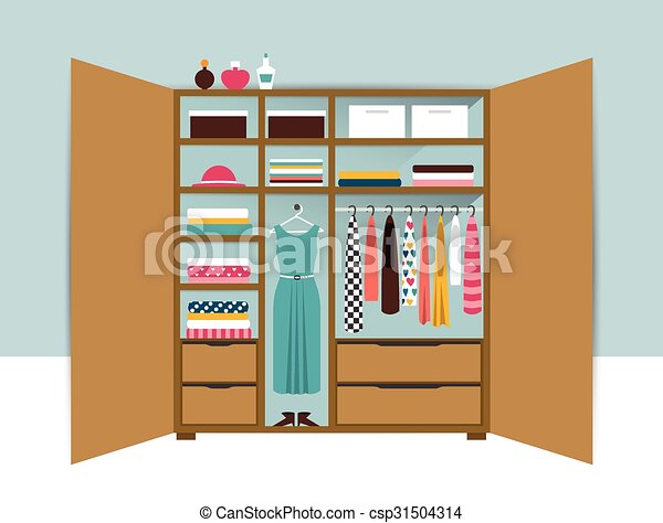 Open Wardrobe Wooden Closet With Tidy Clothes Shirts Sweaters Boxes And Shoes
