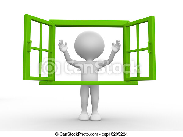 3d people man person with a open window clip art Search