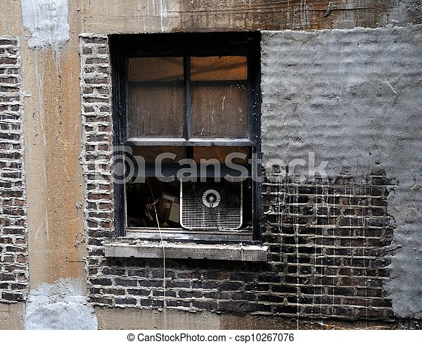 Open Window In An Old Rundown Apartment Building