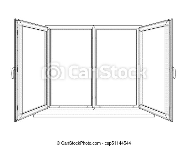 Open windows sketch. vector rendering of 3d. wire-frame style. the layers of visible and ...