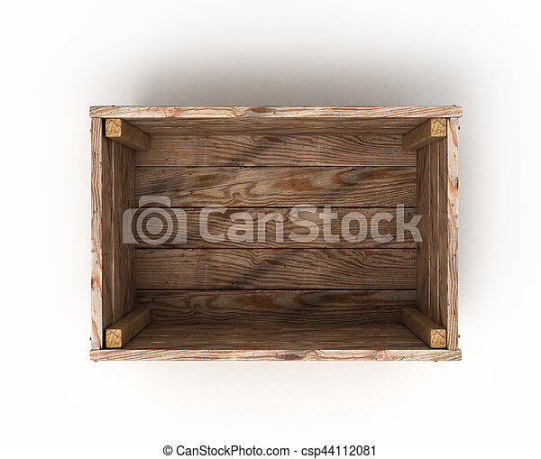 open wooden box isolated on white background front view