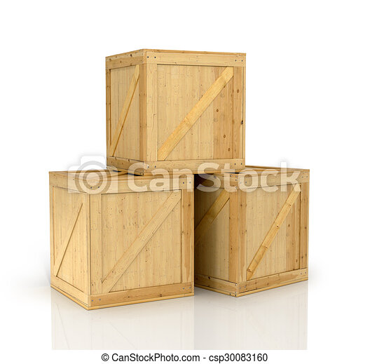 open wooden box on a white background