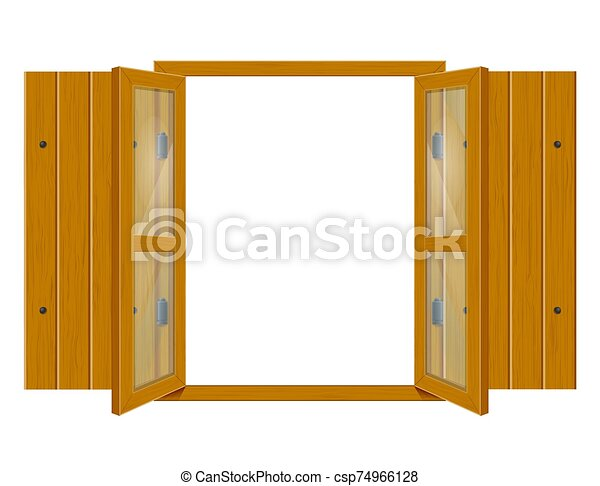 open wooden window with shutters and transparent glass for design vector illustrationo - csp74966128