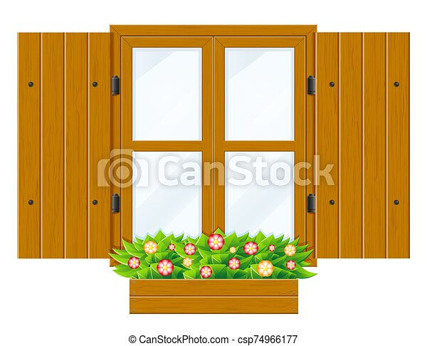 open wooden window with shutters and transparent glass for design vector illustration - csp74966177