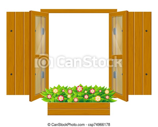 open wooden window with shutters and transparent glass for design vector illustration - csp74966178