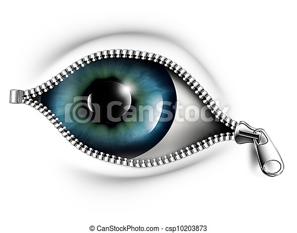 open your eyes zipper opening the eye on a white background