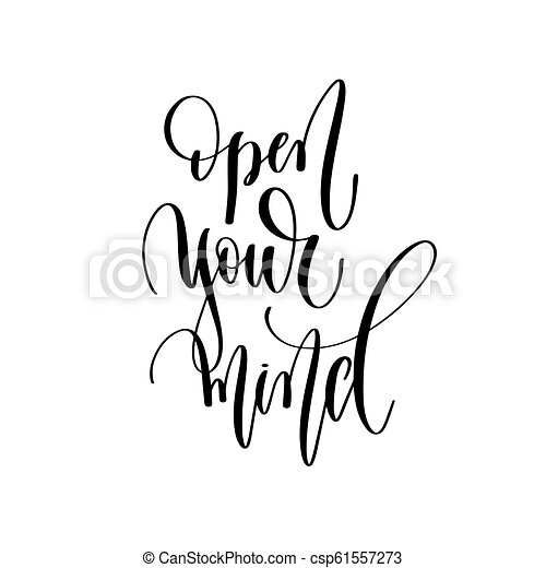 Open Your Mind Hand Lettering Overlay Typography Element