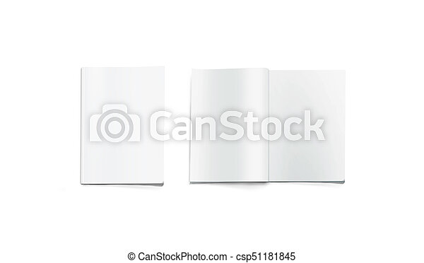opened and closed blank magazine mockup isolated white journal