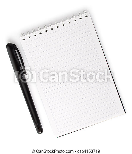 opened blank notebook with pen isolated on white - csp4153719