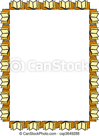 Opened books frame . Frame shaped with opened books.