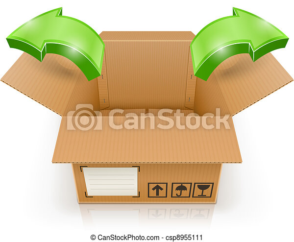 opened box with arrow outside - csp8955111