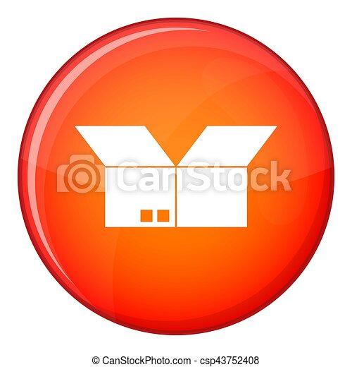 Opened cardboard box icon, flat style - csp43752408