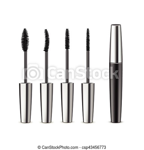 bef94c88257 Opened closed black mascara with different brushes. Vector set of ...