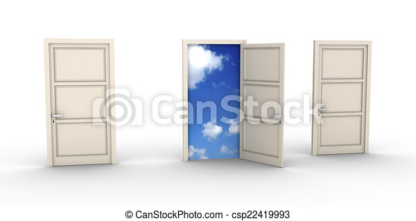 Opened door leads to the sky - csp22419993
