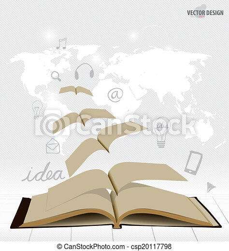 Opened flying books with application icon, modern template design. Vector illustration. - csp20117798