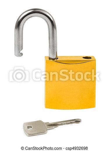 Opened lock and key - csp4932698