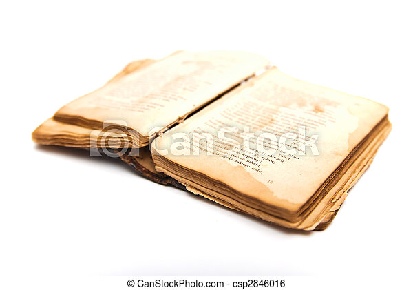 opened old antique book isolated - csp2846016