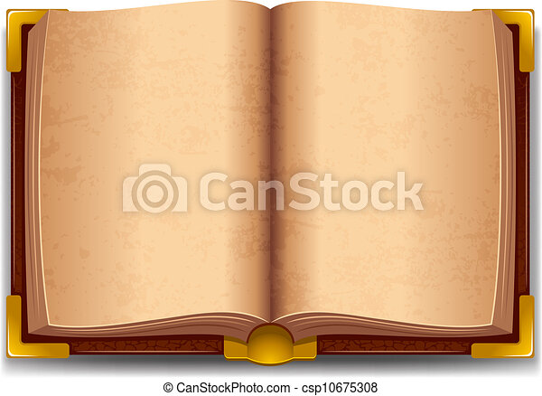Opened Old Book In Leather Cover And With Golden Decoration