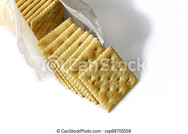 opened package of saltine crackers - csp68705558