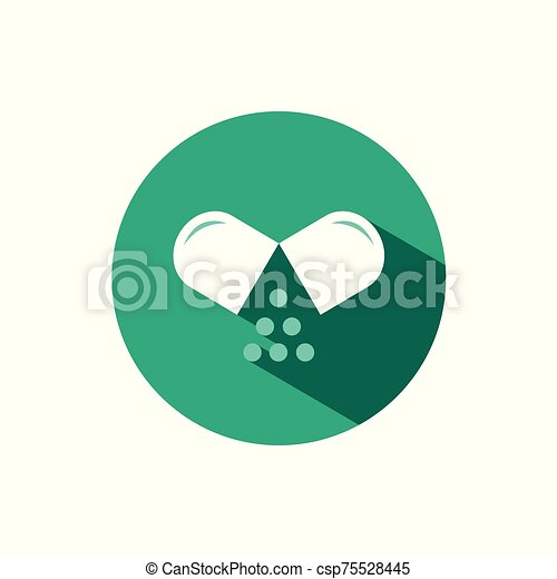 Opened pill icon with shadow on a green circle. Vector pharmacy illustration - csp75528445