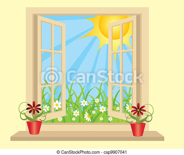 Opened Plastic Window In Room With View To Green Field
