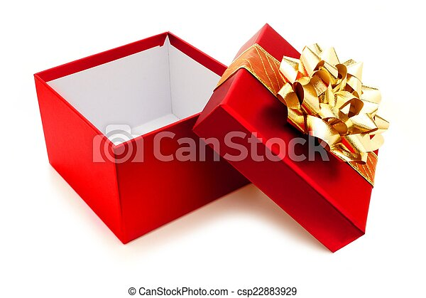 Opened red christmas gift box with gold bow and ribbon opened red christmas gift box csp22883929 negle Images