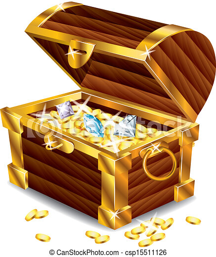 opened treasure chest with treasures - csp15511126