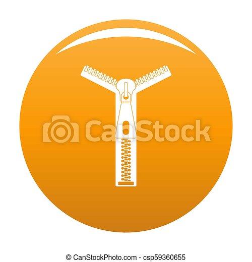Opened zip icon orange - csp59360655