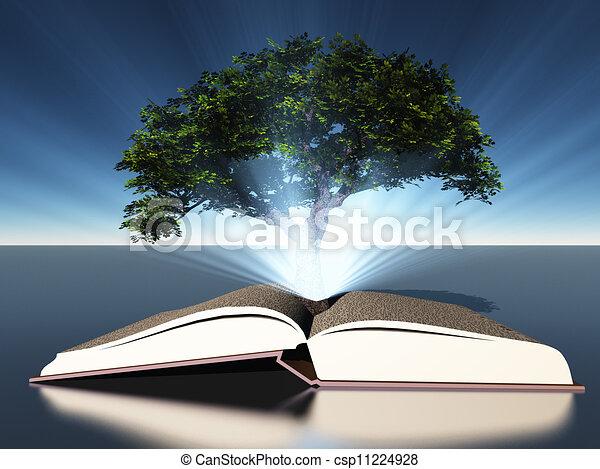 opengeslagen boek, boompje, grows, uit - csp11224928