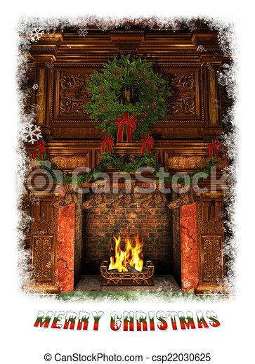 openhaard, verfraaide, cg, kerstmis, 3d - csp22030625